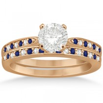 Blue Sapphire & Diamond Engagement Ring Set 18k Rose Gold (0.55ct)