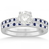 Blue Sapphire & Diamond Engagement Ring Set 18k White Gold (0.55ct)