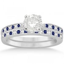Blue Sapphire & Diamond Engagement Ring Set Palladium (0.55ct)