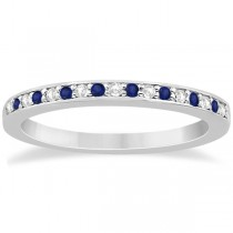 Blue Sapphire & Diamond Engagement Ring Set Platinum (0.55ct)