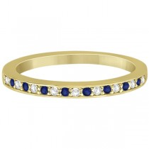 Cathedral Blue Sapphire & Diamond Wedding Band 14k Yellow Gold 0.29ct