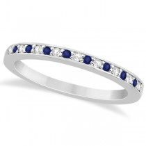 Cathedral Blue Sapphire & Diamond Wedding Band Platinum 0.29ct