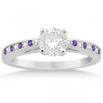 Amethyst & Diamond Engagement Ring 14k White Gold 0.26ct