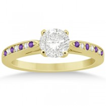 Amethyst & Diamond Engagement Ring 18k Yellow Gold 0.26ct