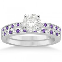 Amethyst & Diamond Engagement Ring Set 14k White Gold (0.55ct)