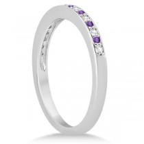 Amethyst & Diamond Engagement Ring Set 14k White Gold (0.55ct)