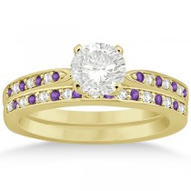 Amethyst &  Diamond Engagement Ring Set 14k Yellow Gold (0.55ct)