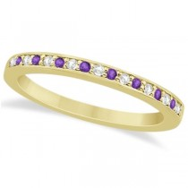 Amethyst & Diamond Engagement Ring Set 18k Yellow Gold (0.55ct)
