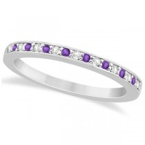 Amethyst & Diamond Wedding Band 18k White Gold 0.29ct