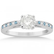 Aquamarine & Diamond Engagement Ring 14k White Gold 0.26ct