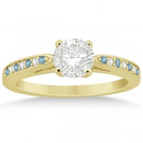 Aquamarine & Diamond Engagement Ring 14k Yellow Gold 0.26ct