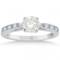 Aquamarine & Diamond Engagement Ring Platinum 0.26ct