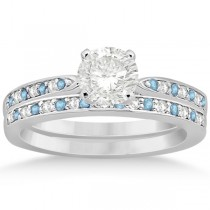 Aquamarine & Diamond Engagement Ring Set 14k White Gold (0.55ct)
