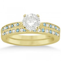 Aquamarine & Diamond Engagement Ring Set 18k Yellow Gold (0.55ct)
