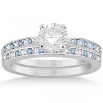 Aquamarine & Diamond Engagement Ring Set Platinum (0.55ct)