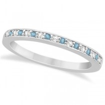 Aquamarine & Diamond Wedding Band 14k White Gold 0.29ct