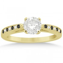 Black & White Diamond Engagement Ring 14k Yellow Gold 0.26ct