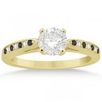 Black & White Diamond Engagement Ring 14k Yellow Gold 0.26ct