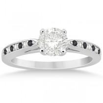 Black & White Diamond Engagement Ring 18k White Gold 0.26ct