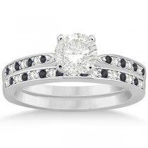 Black & White Diamond Engagement Ring Set 18k White Gold (0.55ct)