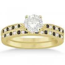 Black & White Diamond Engagement Ring Set 18k Yellow Gold (0.55ct)