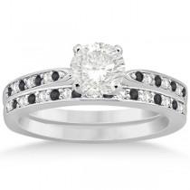 Black & White Diamond Engagement Ring Set Platinum (0.55ct)