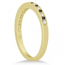 Black & White Diamond Wedding Band 18k Yellow Gold 0.29ct