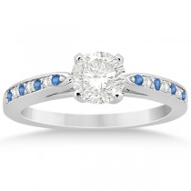 Blue Topaz & Diamond Engagement Ring 18k White Gold 0.26ct