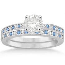 Blue Topaz & Diamond Engagement Ring Set 14k White Gold (0.55ct)