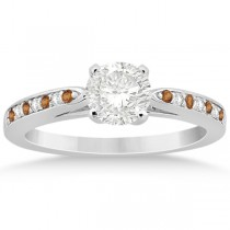 Citrine & Diamond Engagement Ring 14k White Gold 0.26ct