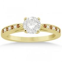 Citrine & Diamond Engagement Ring 18k Yellow Gold 0.26ct