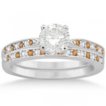Citrine & Diamond Engagement Ring Set 14k White Gold (0.55ct)