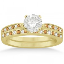 Citrine & Diamond Engagement Ring Set 14k Yellow Gold (0.55ct)