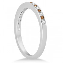 Citrine & Diamond Wedding Band 14k White Gold 0.29ct
