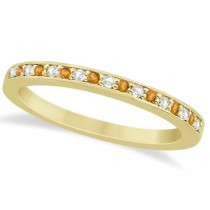 Citrine & Diamond Wedding Band 18k Yellow Gold 0.29ct