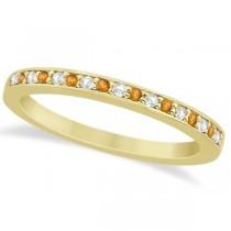 Citrine & Diamond Wedding Band 18k Yellow Gold 0.29ct