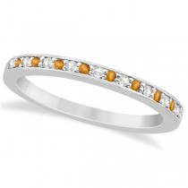 Citrine & Diamond Wedding Band Palladium 0.29ct