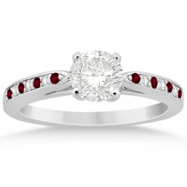 Garnet & Diamond Engagement Ring 14k White Gold 0.26ct