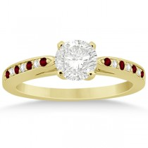 Garnet & Diamond Engagement Ring 18k Yellow Gold 0.26ct