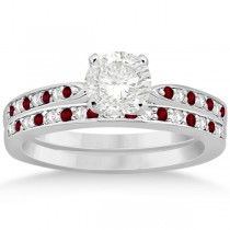 Garnet & Diamond Engagement Ring Set 14k White Gold (0.55ct)