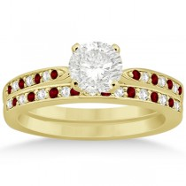 Garnet & Diamond Engagement Ring Set 14k Yellow Gold (0.55ct)