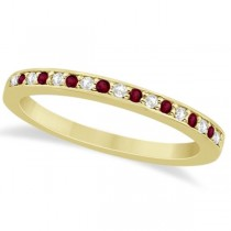 Garnet & Diamond Wedding Band 14k Yellow Gold 0.29ct