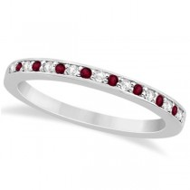 Garnet & Diamond Wedding Band 18k White Gold 0.29ct