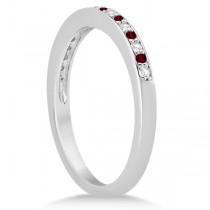 Garnet & Diamond Wedding Band 18k White Gold 0.29ct