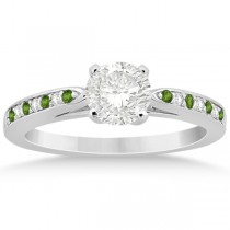Peridot & Diamond Engagement Ring 14k White Gold 0.26ct