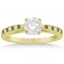 Peridot & Diamond Engagement Ring 14k Yellow Gold 0.26ct