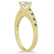 Peridot & Diamond Engagement Ring 18k Yellow Gold 0.26ct