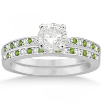 Peridot & Diamond Engagement Ring Set 14k White Gold (0.55ct)