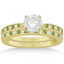Peridot & Diamond Engagement Ring Set 14k Yellow Gold (0.55ct)