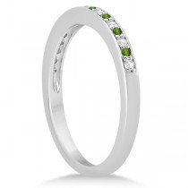 Peridot & Diamond Wedding Band 14k White Gold 0.29ct